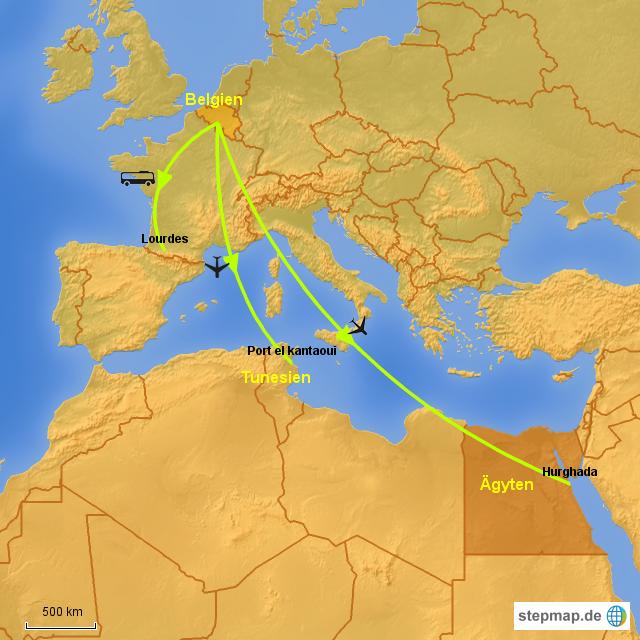 Tunesien Karte Welt.Stepmap Belgien ägypten Tunesien Lourdes Landkarte Für Welt