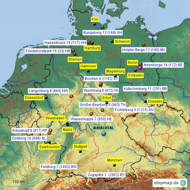 berge in deutschland karte StepMap   Berge   Landkarte für Deutschland berge in deutschland karte