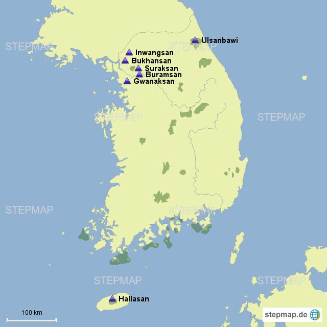 Südkorea Karte.Stepmap Berge Korea Landkarte Für Südkorea