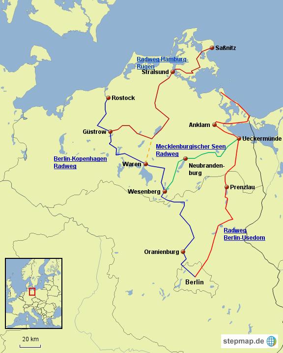 Radweg Berlin Usedom Karte.Stepmap Berlin Ostsee Radweg Landkarte Für Deutschland