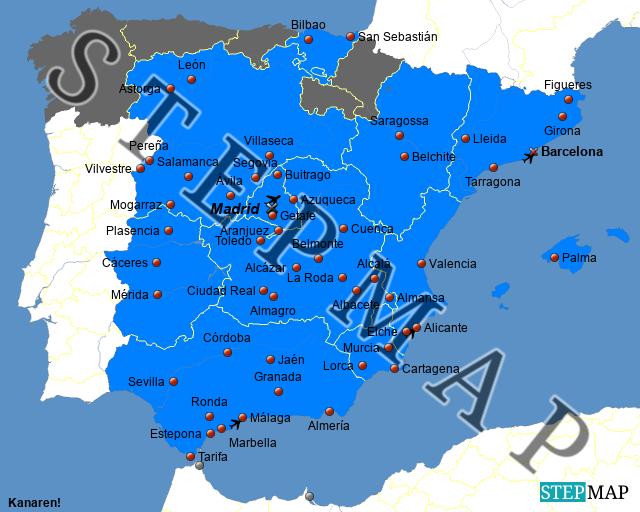 Autonome Regionen Spanien Karte.Stepmap Besuchte Orte In Spanien Landkarte Fur Spanien