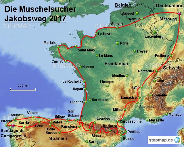 Jakobsweg Karte Deutschland.Stepmap Biketour Jakobsweg 2017 Landkarte Für Europa