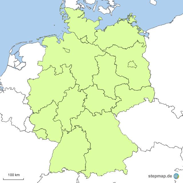 Karte Bundesländer.Stepmap Blanko Mit Bundesländer Landkarte Für Deutschland