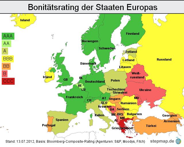 Stepmap Bonitätsrating Europa Moody S Stuft Italien Herab