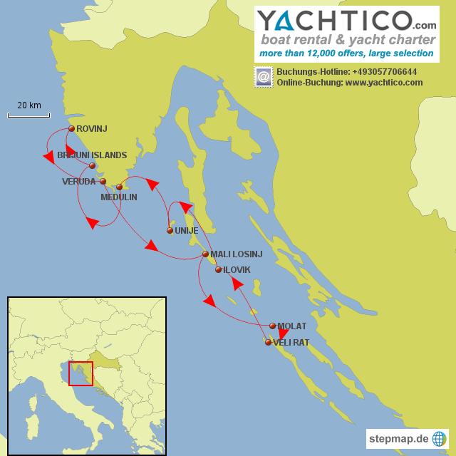 karte kroatien küste StepMap   Bootsurlaub vor der Küste Kroatiens   planen mit  karte kroatien küste