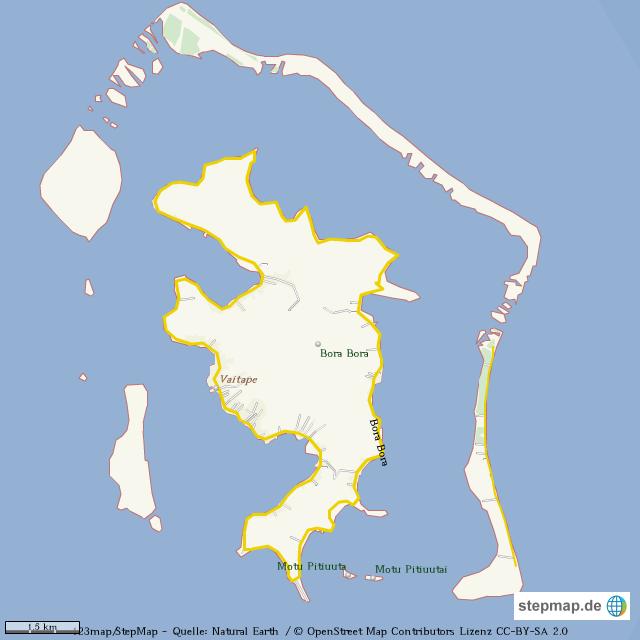 StepMap - Bora Bora - Landkarte für Welt
