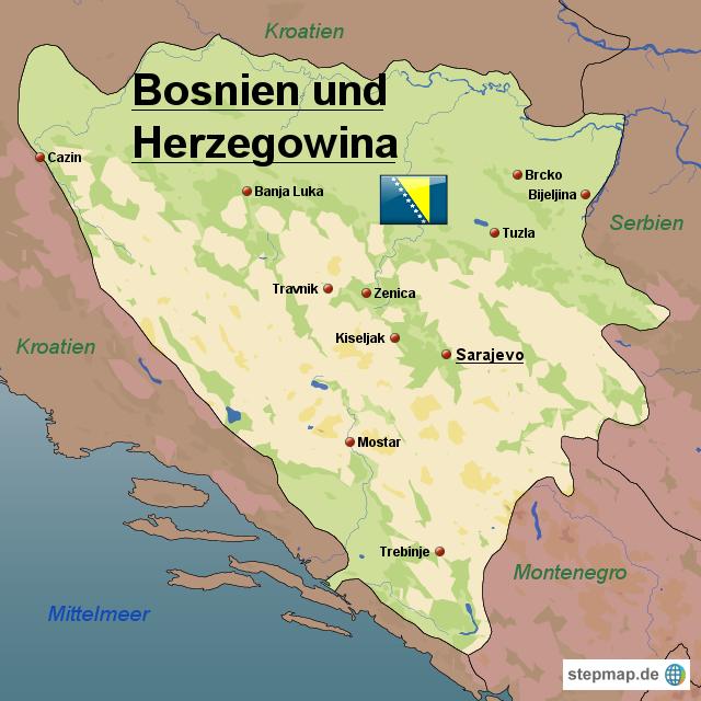 karte bosnien StepMap   Bosnien und Herzegowina Karte   Landkarte für Bosnien  karte bosnien
