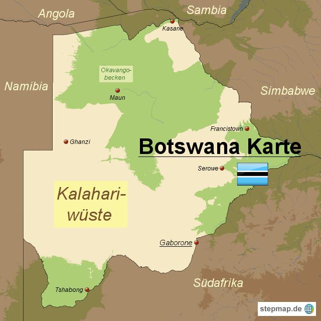 botswana karte StepMap   Botswana Karte   Landkarte für Afrika