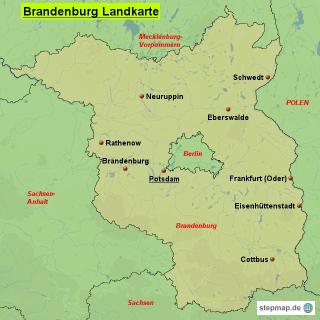 landkarte brandenburg StepMap   Brandenburg Landkarte   Landkarte für Deutschland landkarte brandenburg