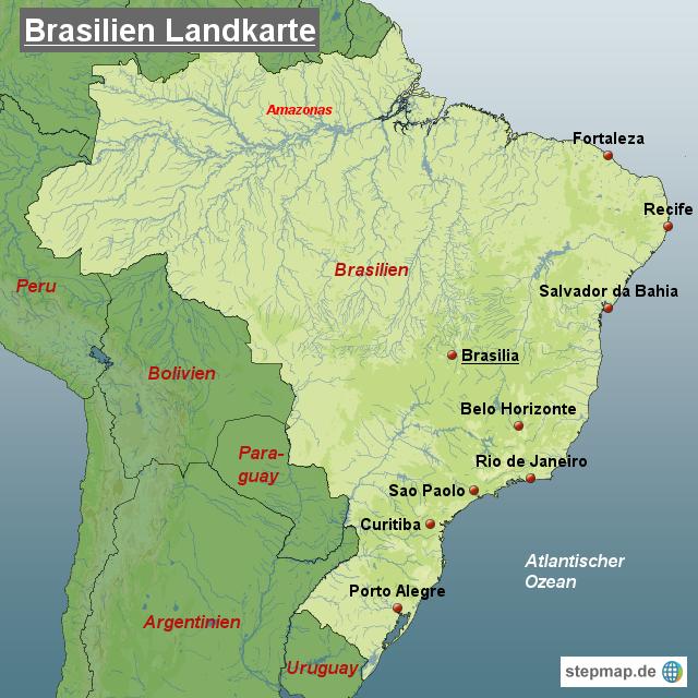 brasilien landkarte StepMap   Brasilien Landkarte   Landkarte für Brasilien brasilien landkarte