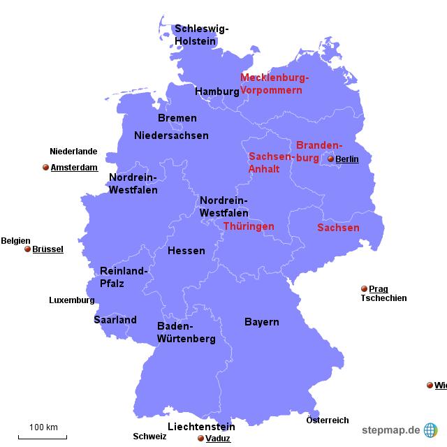 Bundesländer Hauptstädte Karte.Stepmap Bundesländer Hauptstädte Landkarte Für Deutschland