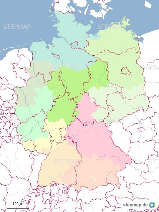 Bundesland Karte Mit Plz.Stepmap Bundeslander Mit Plz Gebiet Landkarte Fur