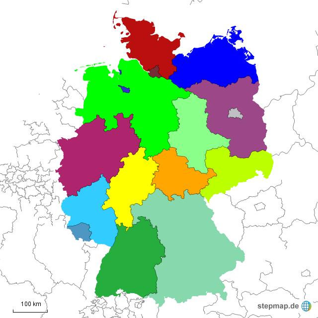 karte bundesländer ohne namen StepMap   Bundesländer ohne Namen   Landkarte für Deutschland