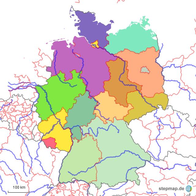 bundesländer und flüsse karte StepMap   Bundesländer und Flüsse   Landkarte für Deutschland