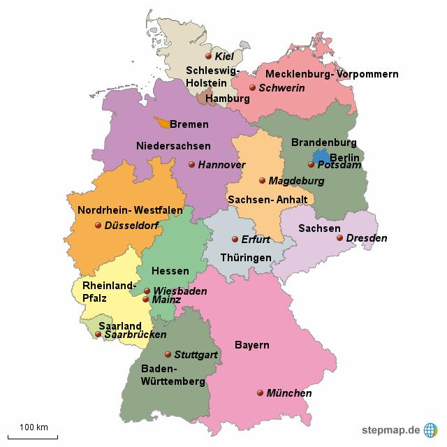 deutschland karte bundesländer mit hauptstädten StepMap   Bundesländer und Hauptstädte   Landkarte für Deutschland