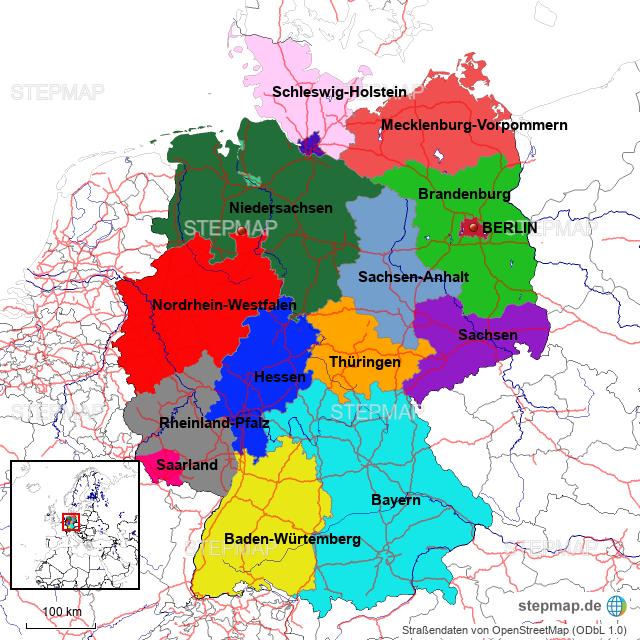 Bundesländer Karte Ostdeutschland.Stepmap Bundesländerkarte Deutschland Landkarte Für Deutschland