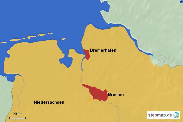 Bundesland Bremen Karte.Stepmap Bundesland Bremen Mit Nachbarn Landkarte Für Deutschland