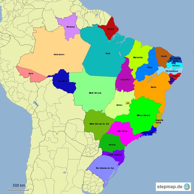 brasilien karte bundesstaaten StepMap   Bundesstaaten   Landkarte für Brasilien