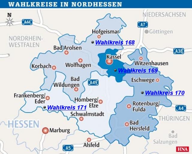 nordhessen karte StepMap   Bundestagswahl   Wahlkreise Nordhessen   Landkarte für