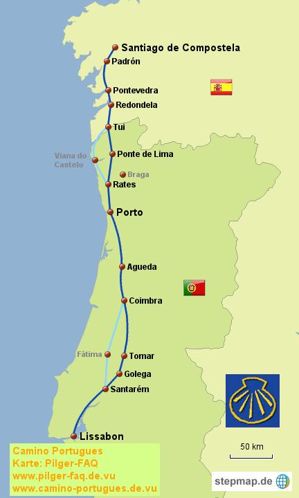 Camino Portugues Karte.Stepmap Camino Portugues Landkarte Für Portugal