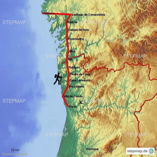 Camino Portugues Karte.Stepmap Camino Portugues Landkarte Für Deutschland