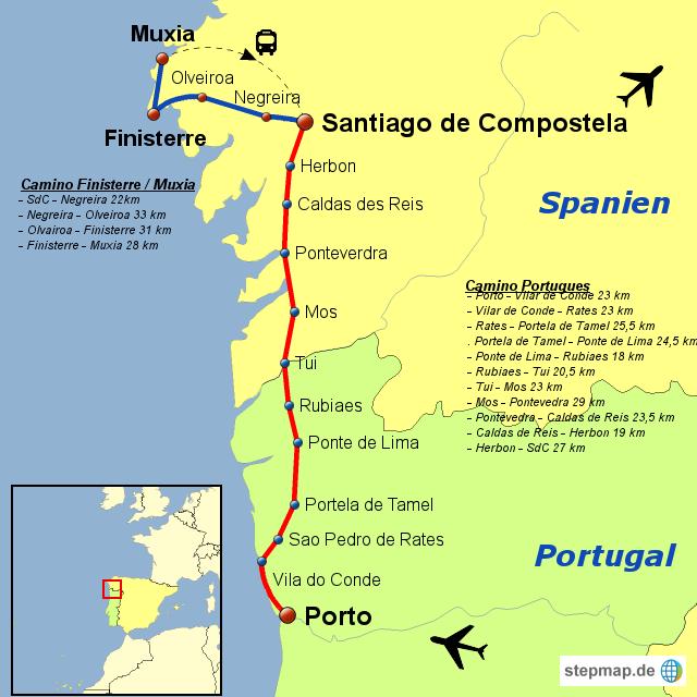 Camino Portugues Karte.Stepmap Camino Portugues Finisterre Muxia Landkarte Für Spanien