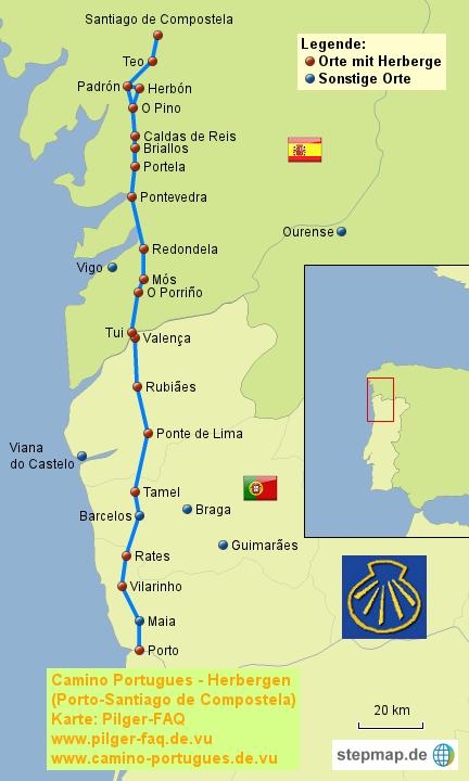 Camino Portugues Karte.Stepmap Camino Portugues Herbergen Landkarte Für Portugal