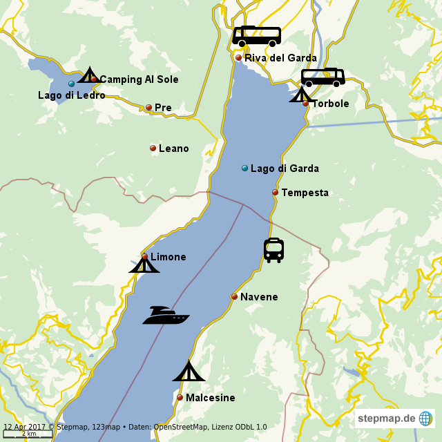 camping gardasee karte StepMap   Camping Gardasee   Landkarte für Welt