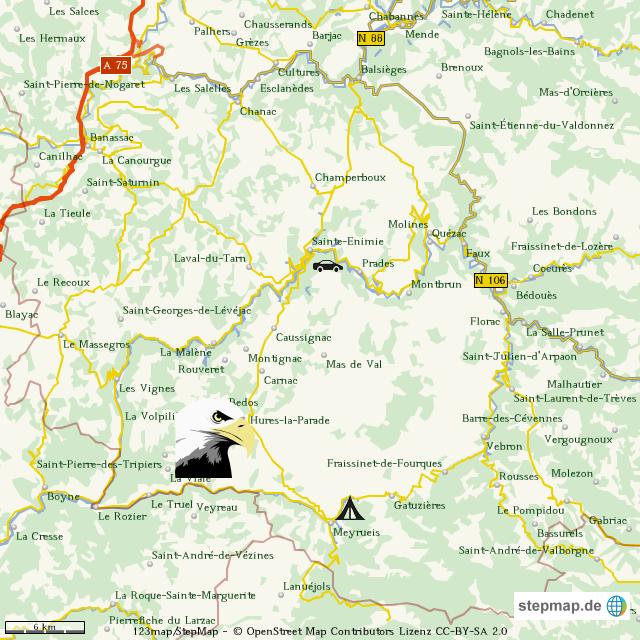 Cevennen Karte.Stepmap Cevennen Landkarte Für Deutschland