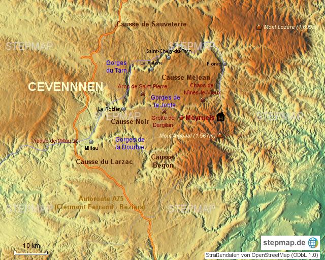 Cevennen Karte.Stepmap Cevennen Landkarte Für Frankreich