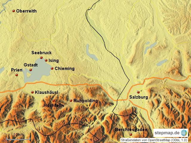 Chiemsee Karte Region.Stepmap Chiemsee Ubersicht Landkarte Fur Deutschland