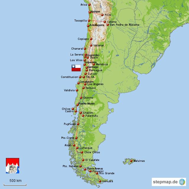 landkarte chile StepMap   Chile   Landkarte für Chile landkarte chile