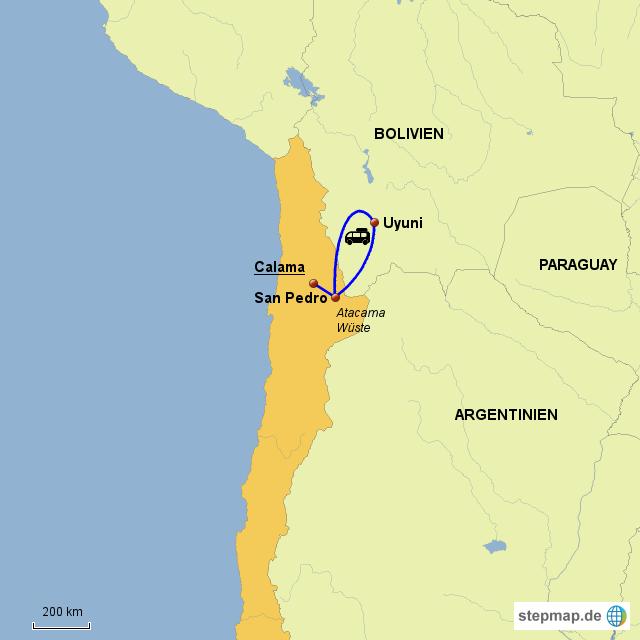 Atacama Wüste Karte.Stepmap Chile Atacama Wüste Uyuni Landkarte Für Chile