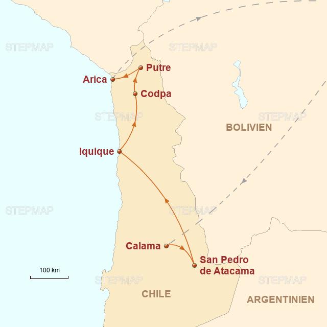 Atacama Wüste Karte.Stepmap Chile Von Der Atacama Wüste Bis Ins Altiplano