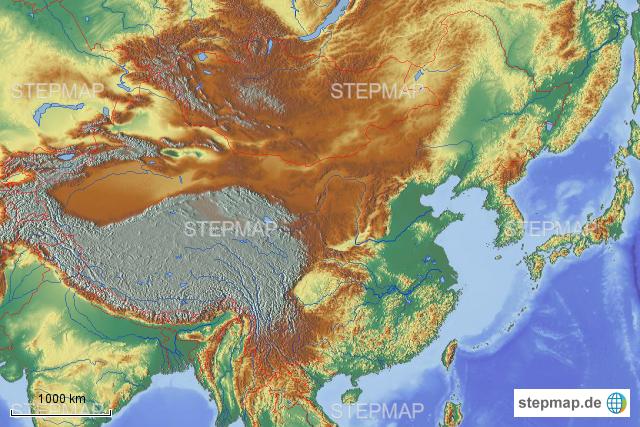 China Karte Physisch.Stepmap China Physisch Landkarte Für Deutschland