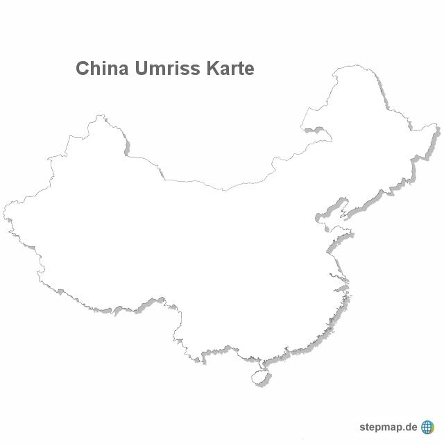china karte umriss StepMap   China Umriss Karte   Landkarte für China