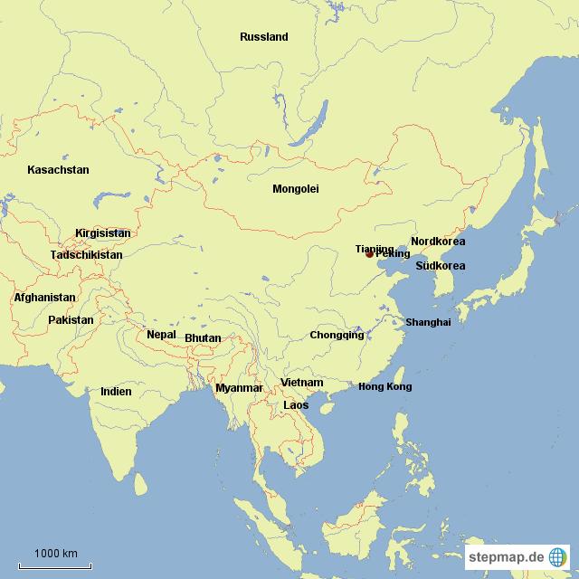 china nachbarländer karte StepMap   China und Nachbarländer   Landkarte für Asien