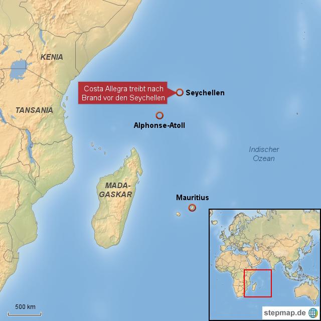 Karte Seychellen.Stepmap Costa Allegra Treibt Nach Brand Seychellen