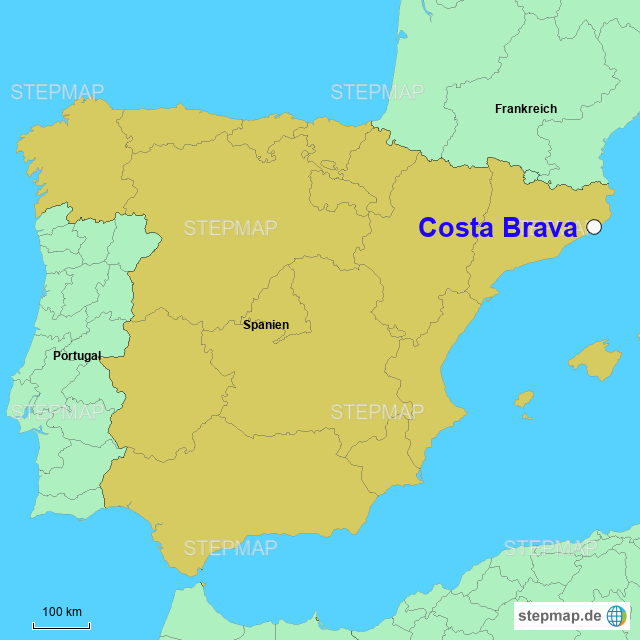 Karte Costa Brava Spanien.Stepmap Costa Brava Landkarte Fur Spanien