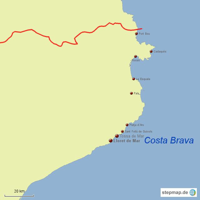 Karte Costa Brava Spanien.Stepmap Costa Brava Spanien Landkarte Fur Spanien