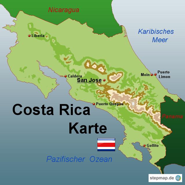 costa rica landkarte StepMap   Costa Rica Karte   Landkarte für Costa Rica costa rica landkarte