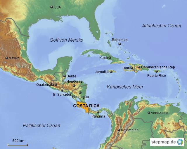 Costa Rica Karte Mittelamerika.Stepmap Costa Rica Mittelamerika
