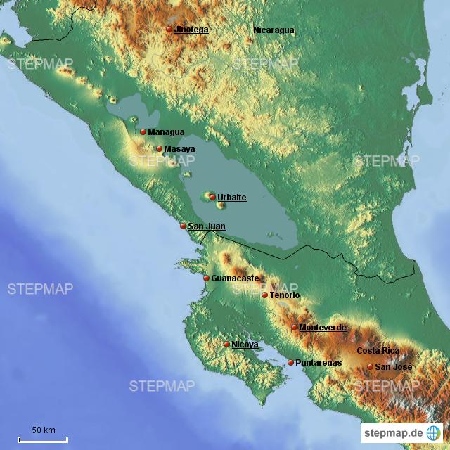 Costa Rica Karte Sehenswurdigkeiten.Stepmap Costa Rica Nicaragua Landkarte Fur Nicaragua