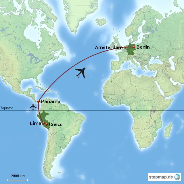 panama weltkarte StepMap   Cusco Lima Panama Amsterdam Berlin   Landkarte für Welt panama weltkarte