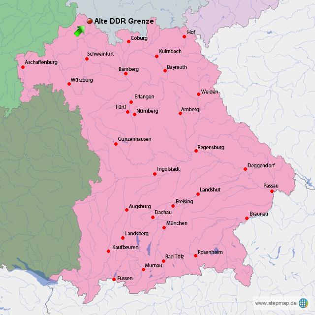 Verlauf Ddr Grenze Karte.Stepmap Ddr Grenze In Der Rhön Landkarte Für Deutschland