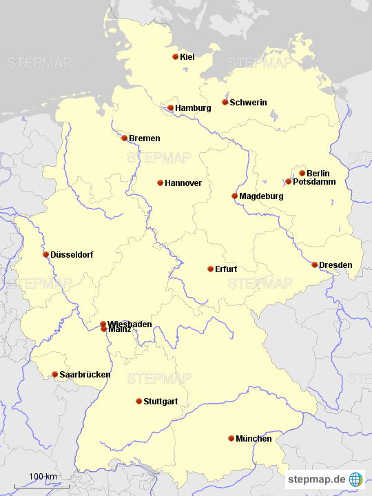 Bundesländer Hauptstädte Karte.Stepmap De Bundesländer Hauptstädte Flüsse Landkarte Für