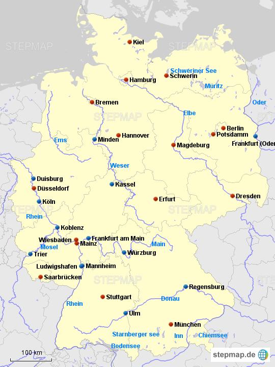 bundesländer und flüsse karte StepMap   DE Bundesländer+Hauptstädte,Flüsse,Seen   Landkarte für