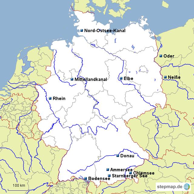 Seen In Norddeutschland Karte.Stepmap De Flüsse Seen Kanäle Landkarte Für Deutschland