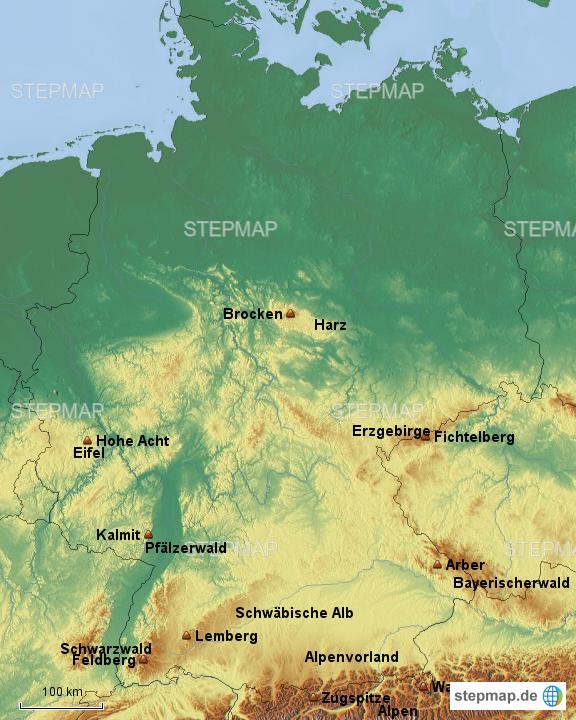 landkarte deutschland berge StepMap   DE Gebirge+Berge   Landkarte für Deutschland