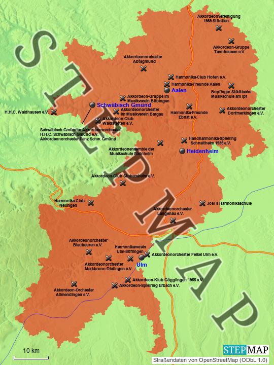 Bezirk Schwaben - Bayern | Landkreise - Stadt - Karte